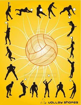 20101121223558 Siluetas De Personas Jugando Voleibol En Vector
